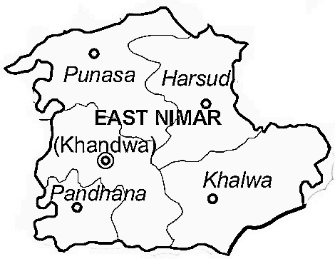 East Nimar District  Map . Surrounded by Burhanpur District ,Harda District ,Khargone District , .