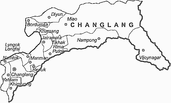 Changlang District  Map . Surrounded by Tirap District ,Tinsukia District ,Mon District , .
