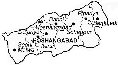 Hoshangabad District  Map . Surrounded by Bhopal District ,Raisen District ,Harda District , .
