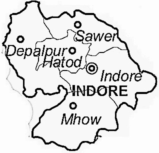 Indore District  Map . Surrounded by Dewas District ,Ujjain District ,Dhar District , .