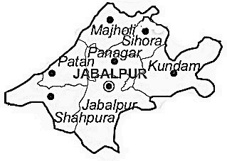 Jabalpur District  Map . Surrounded by Mandla District ,Katni District ,Narsinghpur District , .