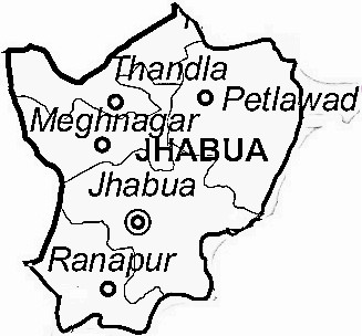 Jhabua District  Map . Surrounded by Dohad District ,Alirajpur District ,Dhar District , .
