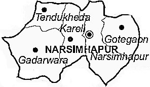 Narsinghpur District  Map . Surrounded by Jabalpur District ,Chhindwara District ,Damoh District , .