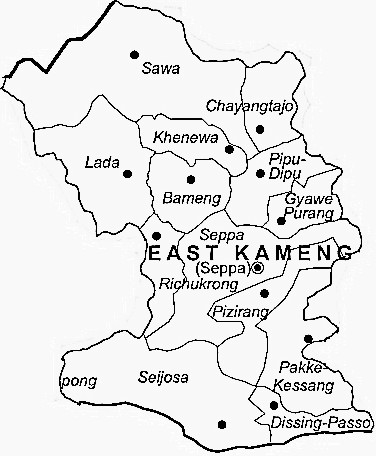 East Kameng District  Map . Surrounded by West Kameng District ,Sonitpur District ,Kurung Kumey District , .