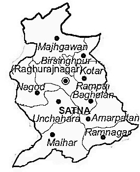Satna District  Map . Surrounded by Rewa District ,Panna District ,Chitrakoot District , .