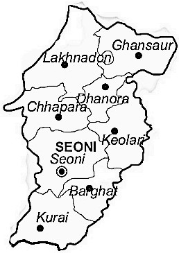 Seoni District  Map . Surrounded by Chhindwara District ,Balaghat District ,Gondia District , .