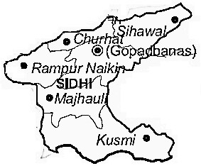 Sidhi District  Map . Surrounded by Rewa District ,Singrauli District ,Mirzapur District , .