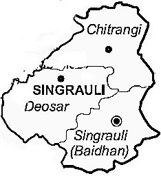 Singrauli District  Map . Surrounded by Sonbhadra District ,Sidhi District ,Korea District , .