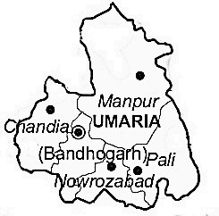 Umaria District  Map . Surrounded by Katni District ,Shahdol District ,Dindori District , .