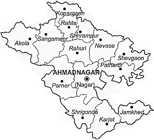 Ahmednagar District  Map . Surrounded by Pune District ,Beed District ,Aurangabad District District , .