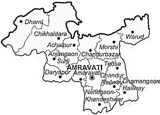 Amravati District  Map . Surrounded by Yavatmal District ,Akola District ,Wardha District , .