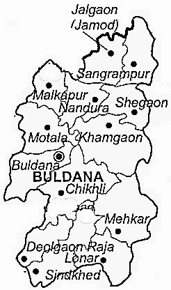 Buldhana District  Map . Surrounded by Jalna District ,Jalgaon District ,Burhanpur District , .