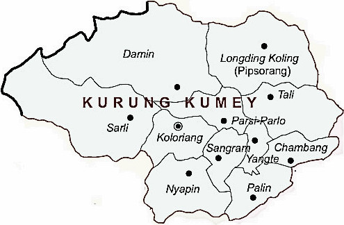 Kurung Kumey District  Map . Surrounded by Lower Subansiri District ,East Kameng District ,Papum Pare District , .