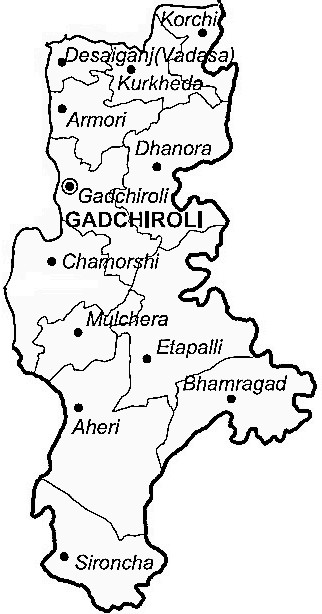 Gadchiroli District  Map . Surrounded by Chandrapur District ,Bhandara District ,Narayanpur District , .