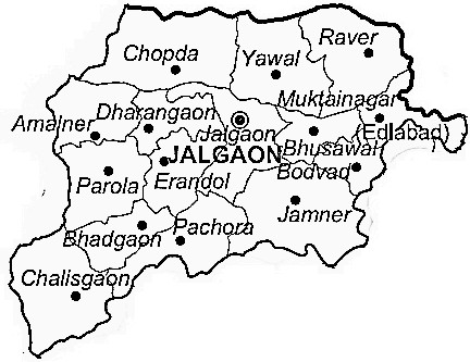 Jalgaon District  Map . Surrounded by Burhanpur District ,Dhule District ,Buldhana District , .