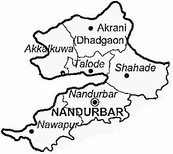 Nandurbar District  Map . Surrounded by Dhule District ,Dang District ,Narmada District , .