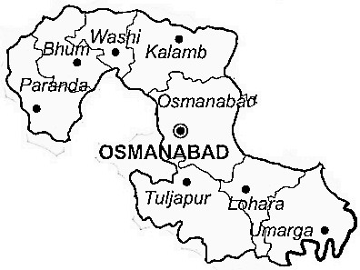 Osmanabad District  Map . Surrounded by Latur District ,Solapur District ,Parbhani District , .
