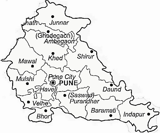 Pune District  Map . Surrounded by Satara District ,Raigad District ,Ahmednagar District , .