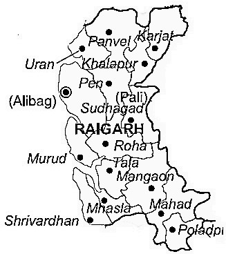 Raigad District  Map . Surrounded by Mumbai District ,Thane District ,Pune District , .