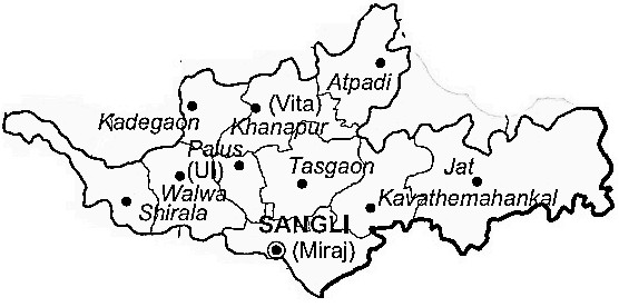 Sangli District  Map . Surrounded by Kolhapur District ,Satara District ,Belgaum District , .