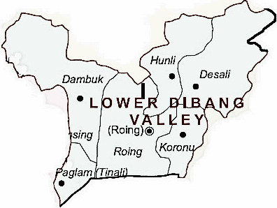 Lower Dibang Valley District  Map . Surrounded by Dibang Valley District ,East Siang District ,Lohit District , .