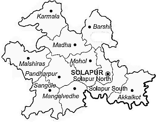 Solapur District  Map . Surrounded by Osmanabad District ,Bijapur District District ,Gulbarga District , .