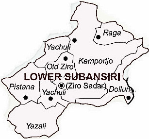 Lower Subansiri District  Map . Surrounded by Papum Pare District ,Lakhimpur District ,Kurung Kumey District , .