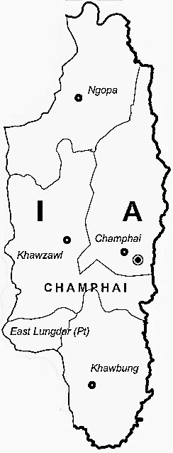 Champhai District  Map . Surrounded by Serchhip District ,Aizawl District ,Lunglei District , .