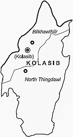 Kolasib District  Map . Surrounded by Mamit District ,Hailakandi District ,Aizawl District , .