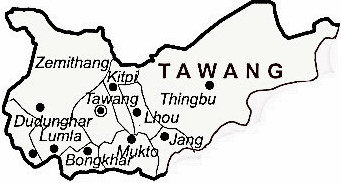 Tawang District  Map . Surrounded by West Kameng District ,Udalguri District ,East Kameng District , .