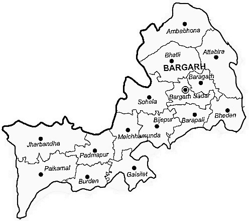 Bargarh District  Map . Surrounded by Sambalpur District ,Sonepur District ,Raigarh District , .
