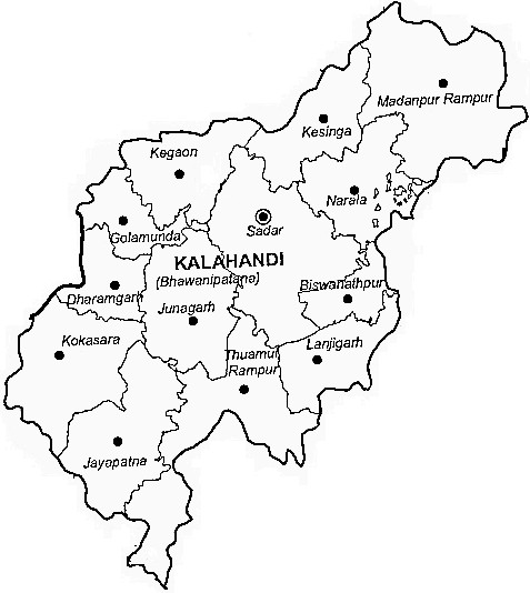 Kalahandi District  Map . Surrounded by Rayagada District ,Nuapada District ,Nabarangpur District , .