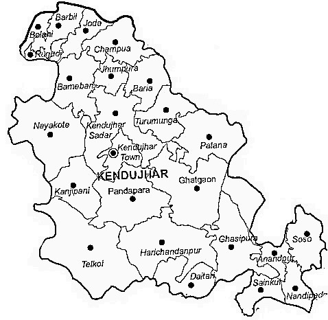 Kendujhar District  Map . Surrounded by Deogarh District ,West Singhbhum District ,Anugul District , .
