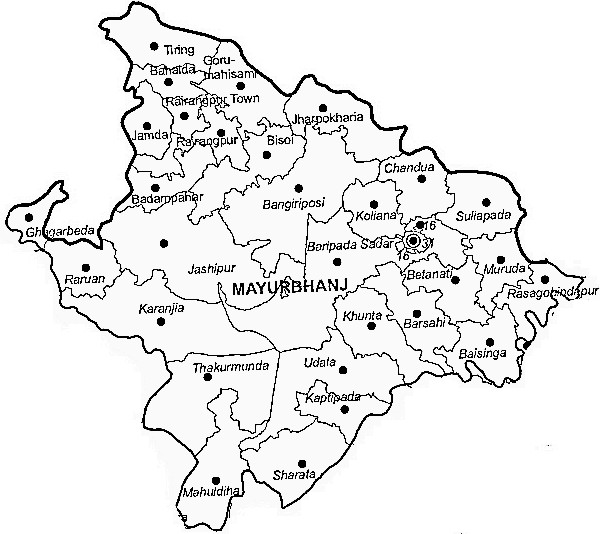 Mayurbhanj District  Map . Surrounded by Baleshwar District ,Medinipur West District ,East Singhbum District , .