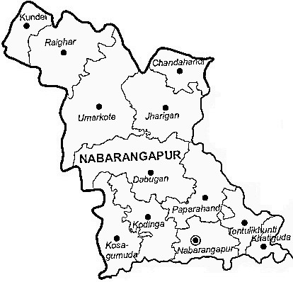 Nabarangpur District  Map . Surrounded by Koraput District ,Bastar District ,Rayagada District , .