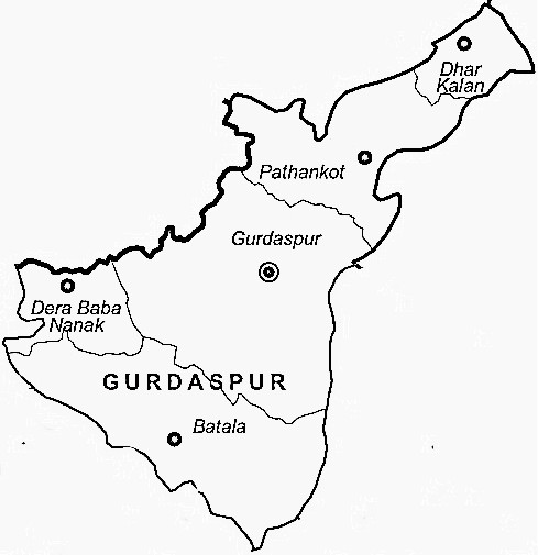 Gurdaspur District  Map . Surrounded by Kathua District ,Amritsar District ,Samba District , .