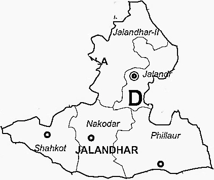 Jalandhar District  Map . Surrounded by Kapurthala District ,Hoshiarpur District ,Nawanshahr District , .