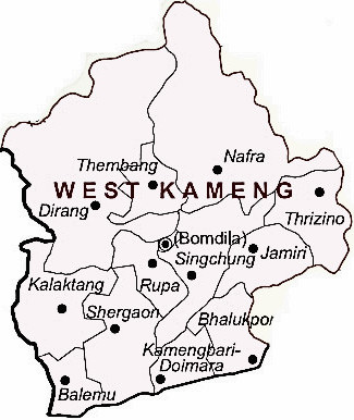 West Kameng District  Map . Surrounded by East Kameng District ,Tawang District ,Udalguri District , .