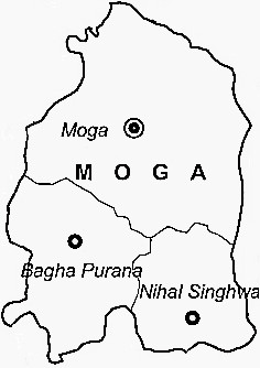 Moga District  Map . Surrounded by Faridkot District ,Firozepur District ,Barnala District , .