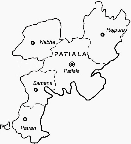 Patiala District  Map . Surrounded by Fatehgarh Sahib District ,Ambala District ,S.A.S Nagar District , .