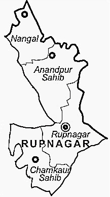 Rupnagar District  Map . Surrounded by S.A.S Nagar District ,Chandigarh District ,Fatehgarh Sahib District , .