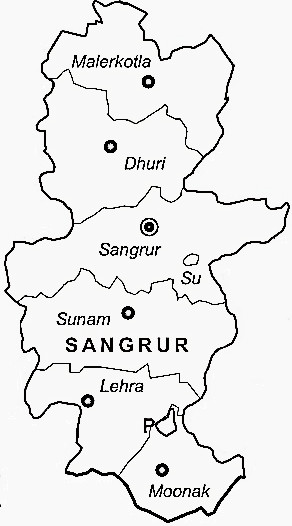 Sangrur District  Map . Surrounded by Barnala District ,Mansa District ,Patiala District , .