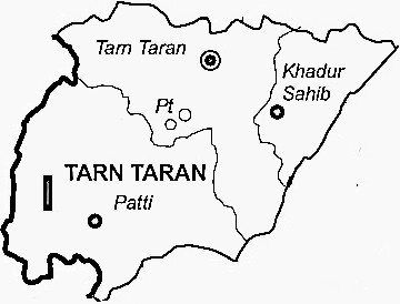 Tarn Taran District  Map . Surrounded by Amritsar District ,Kapurthala District ,Firozepur District , .