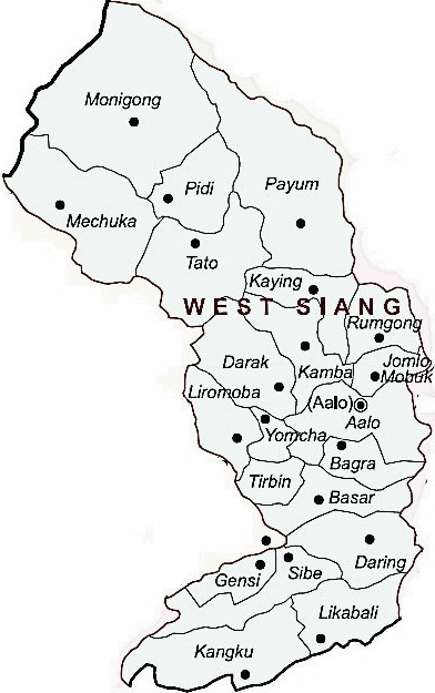 West Siang District  Map . Surrounded by West Siang District ,Upper Siang District ,Dibrugarh District , .