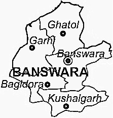 Banswara District  Map . Surrounded by Pratapgarh District ,Ratlam District ,Dungarpur District , .
