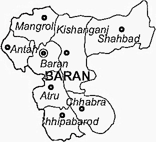 Baran District  Map . Surrounded by Jhalawar District ,Kota District ,Sheopur District , .