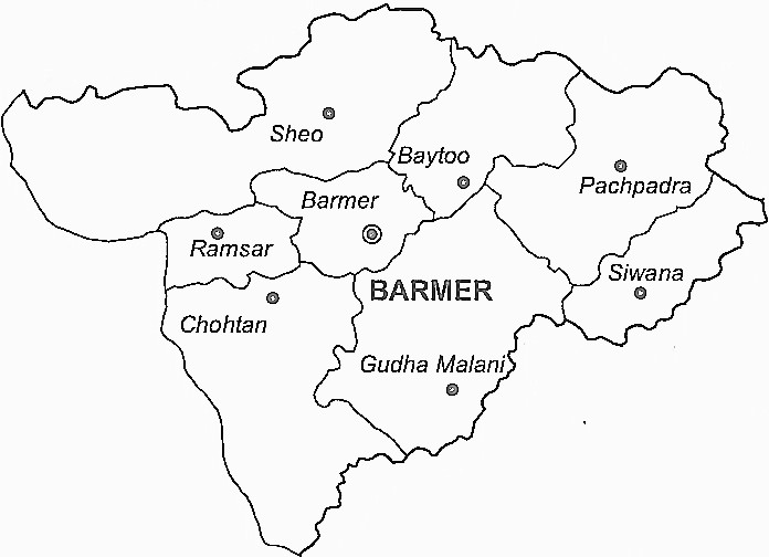 Barmer District  Map . Surrounded by Jalore District ,Jaisalmer District ,Jodhpur District , .