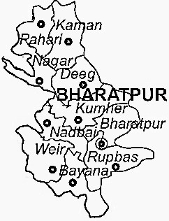 Bharatpur District  Map . Surrounded by Mathura District ,Agra District ,Mahamaya Nagar District , .
