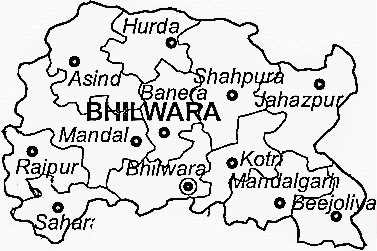 Bhilwara District  Map . Surrounded by Chittorgarh District ,Rajsamand District ,Bundi District , .