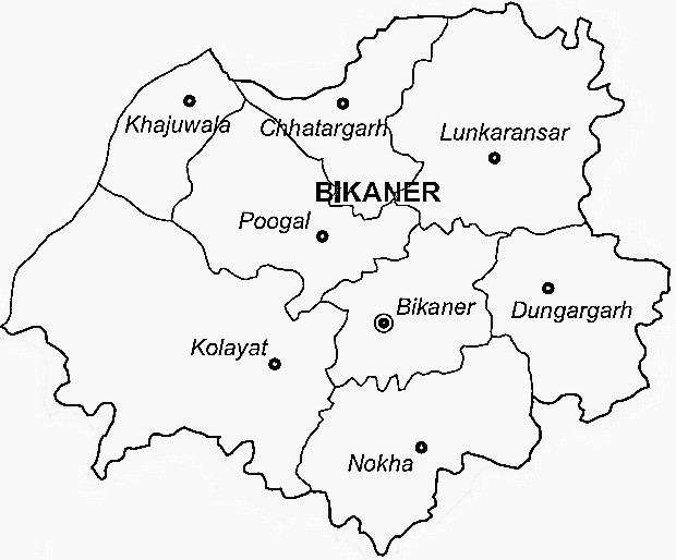 Bikaner District  Map . Surrounded by Nagaur District ,Churu District ,Sikar District , .